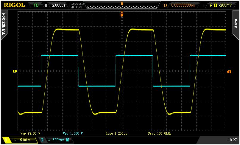 Воспроизведение прямоугольного сигнала 100 кГц