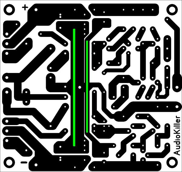 Усилитель с полевыми транзисторами. Чертеж печатной платы.